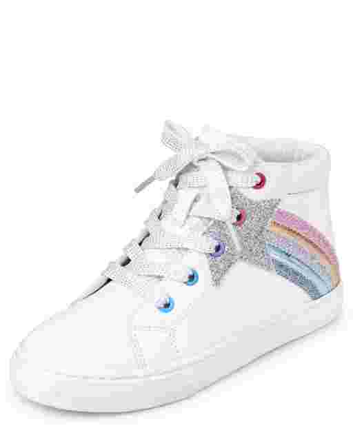 Girls Glitter Shooting Star Faux Leather Hi Top Sneakers