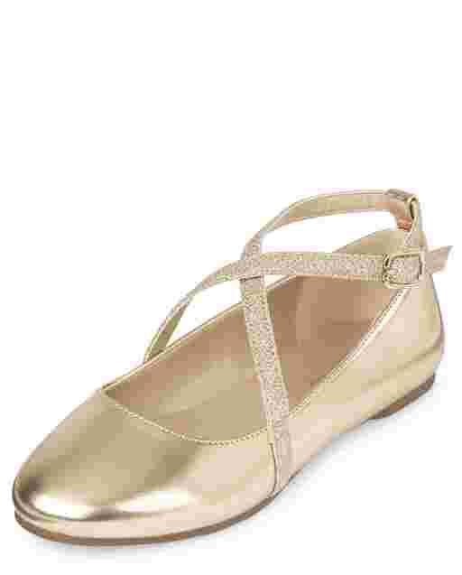 Girls Metallic Glitter Faux Leather Cross Strap Ballet Flats