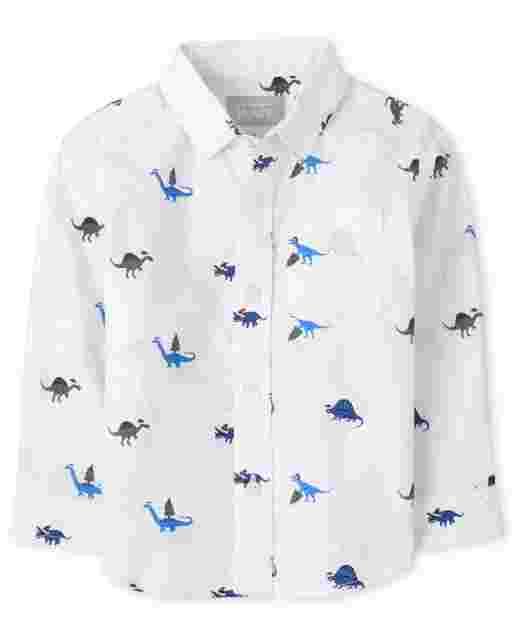 Toddler Boys Long Sleeve Christmas Dino Poplin Button Down Shirt