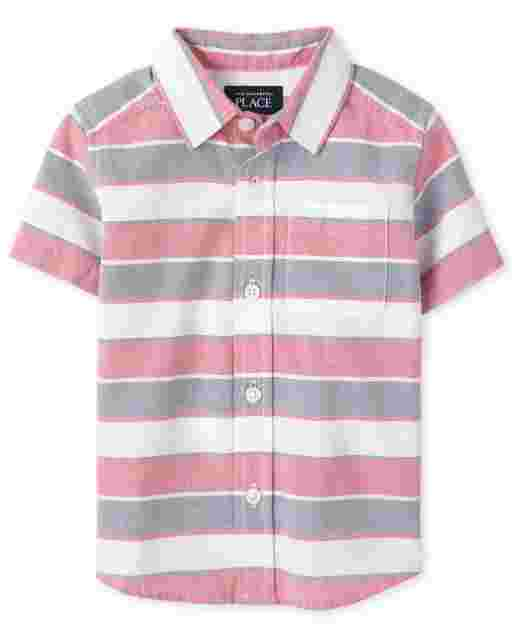 Toddler Boys Short Sleeve Striped Oxford Button Down Shirt