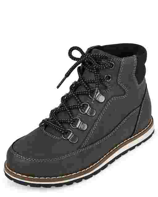 Boys Lace Up Faux Leather Hiker Boots