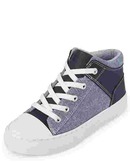 Boys Denim Chambray Mid Top Sneakers