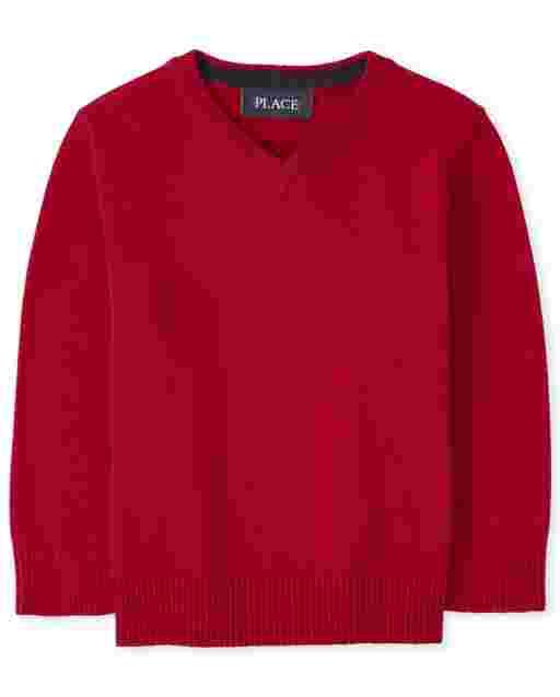 Toddler Boys Long Sleeve V Neck Sweater