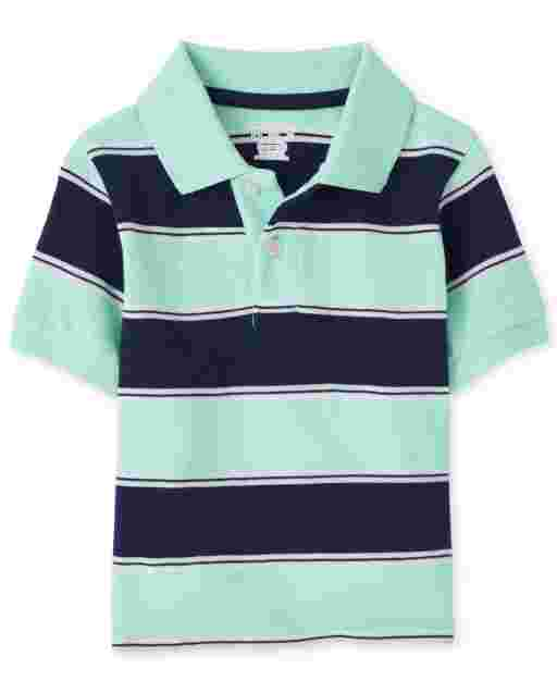 Toddler Boys Short Sleeve Striped Pique Polo