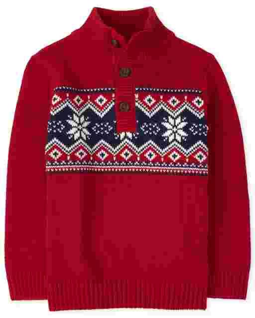 Toddler Boys Long Sleeve Fairisle Mock Neck Sweater