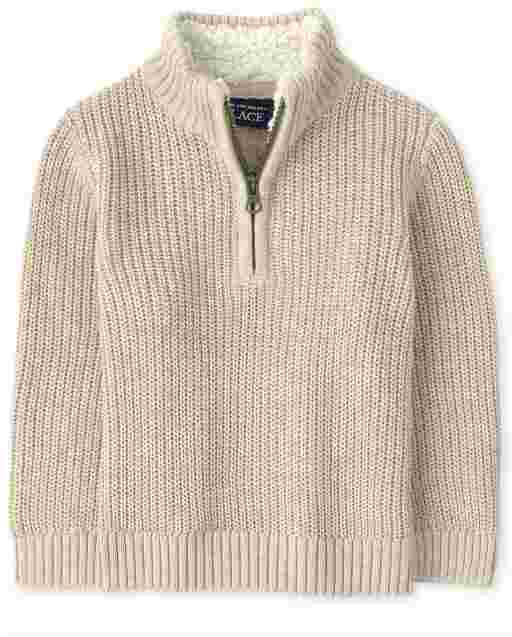 Toddler Boys Long Sleeve Sherpa Half Zip Mock Neck Sweater