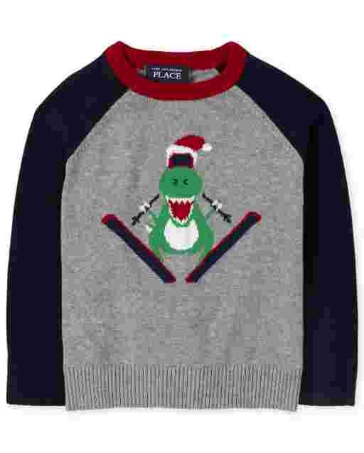 Toddler Boys Long Raglan Sleeve Ski Dino Graphic Intarsia Sweater