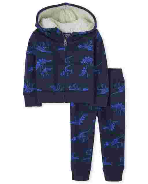 Baby And Toddler Boys Long Sleeve Dino Print Sherpa Zip Up Hoodie And Dino Print Jogger Pants Outfit Set
