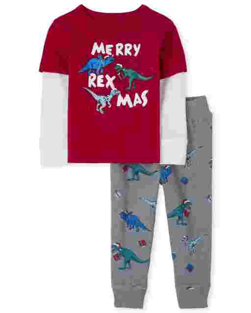 Baby And Toddler Boys Long Sleeve 'Merry Rex-Mas' Christmas Dino Thermal 2 In 1 Top And Christmas Dino Print Jogger Pants Outfit Set