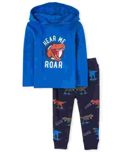 Baby And Toddler Boys Long Sleeve 'Hear Me Roar' Dino Hoodie Top And Dino Print Jogger Pants Outfit Set