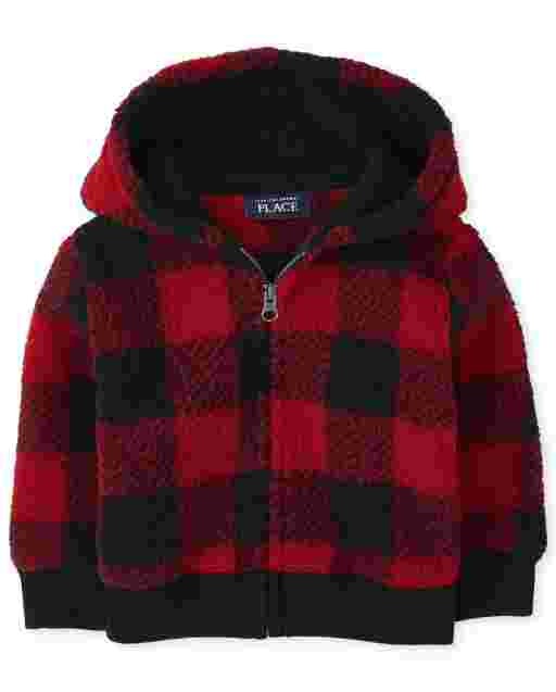 Toddler Boys Long Sleeve Buffalo Plaid Sherpa Cozy Zip Up Hoodie