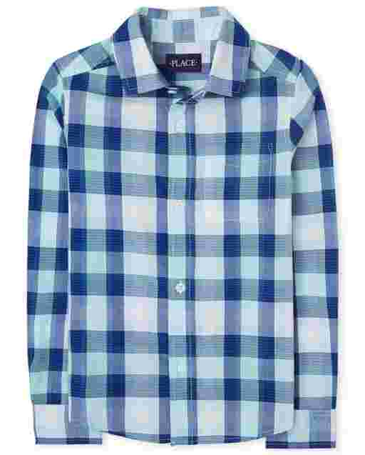Camisa de manga larga con botones de popelina a cuadros para niños