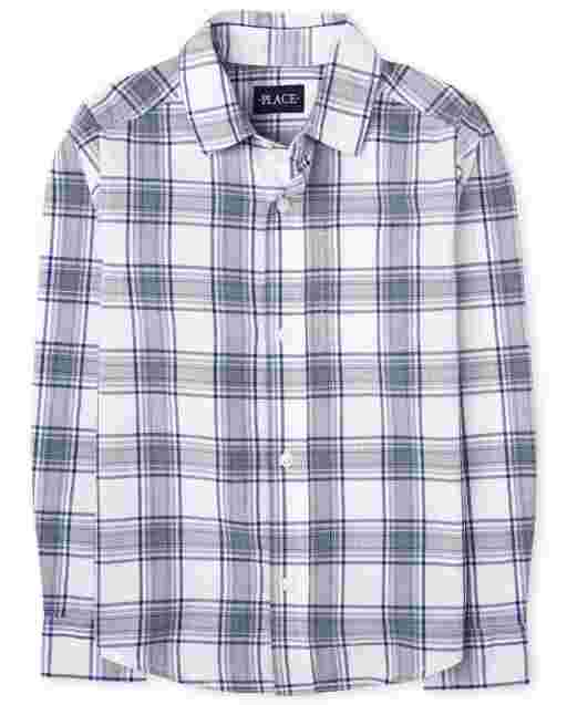 Boys Long Sleeve Plaid Poplin Button Down Shirt