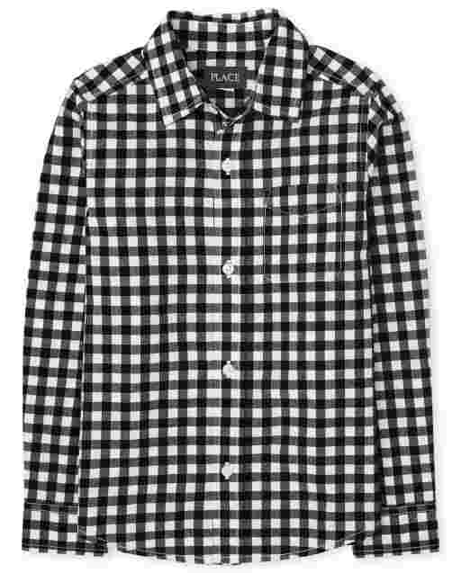 Boys Long Sleeve Gingham Poplin Button Down Shirt