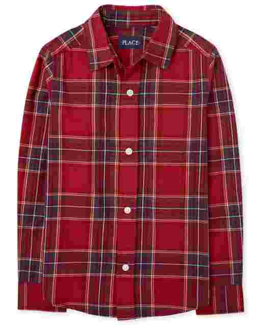 Boys Matching Family Long Sleeve Plaid Poplin Button Down Shirt