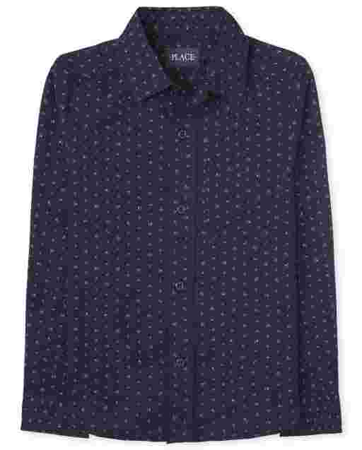 Boys Long Sleeve Print Poplin Button Down Shirt