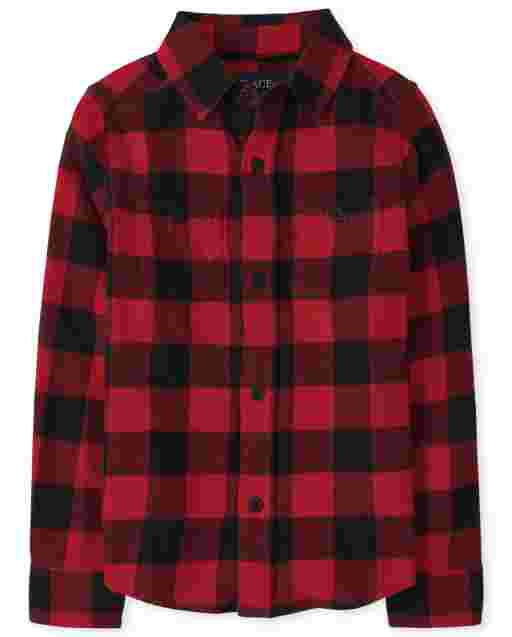 Boys Long Sleeve Buffalo Plaid Flannel Button Down Shirt
