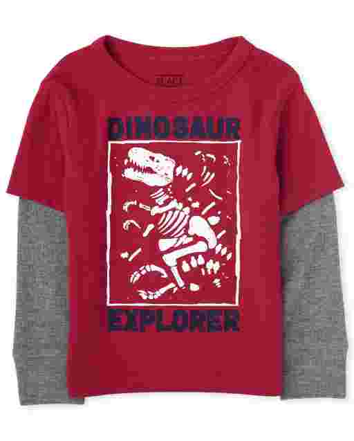 Toddler Boys Long Sleeve Graphic Thermal 2 In 1 Top
