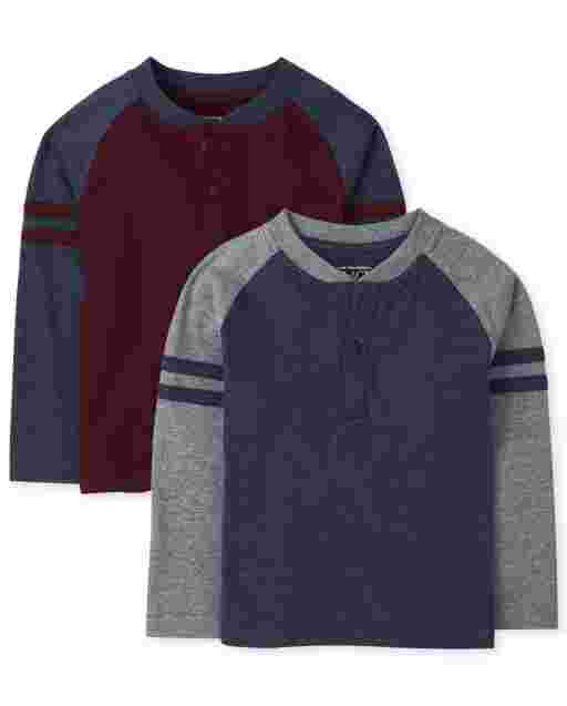Toddler Boys Long Raglan Sleeve Striped Arm Henley Top 2-Pack