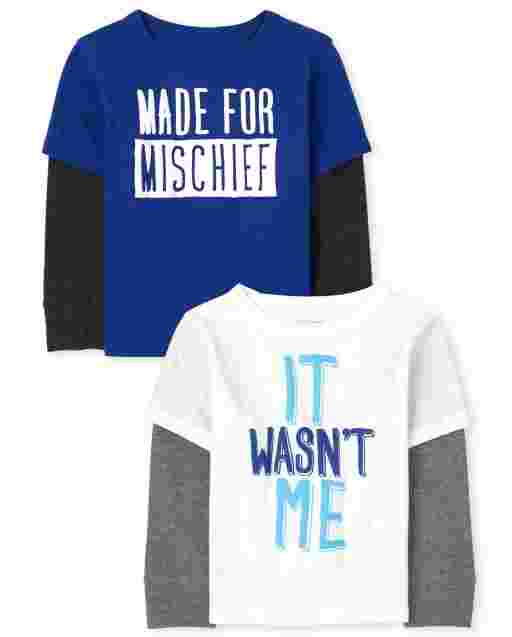 Toddler Boys Long Sleeve 'Made For Mischief' And 'It Wasn't Me' Thermal 2 In 1 Top 2-Pack