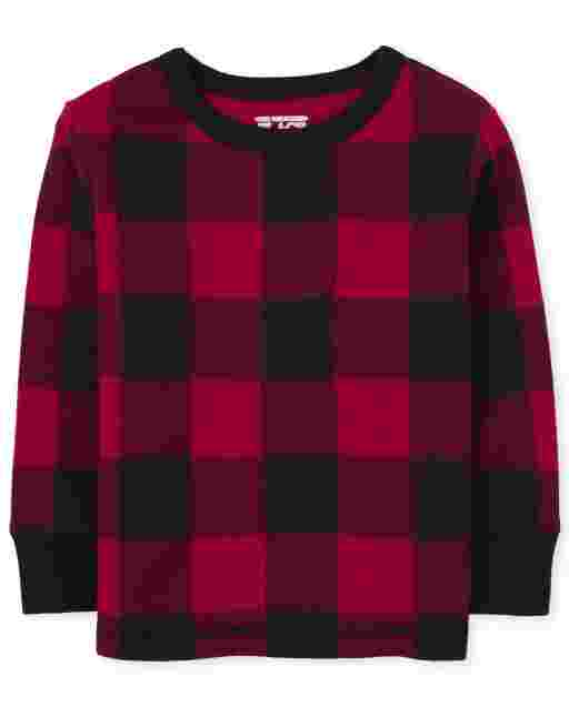 Toddler Boys Long Sleeve Buffalo Plaid Thermal Top