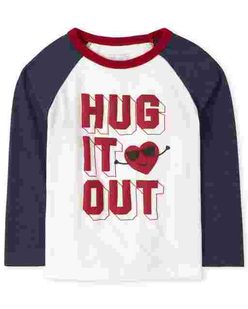 Toddler Boys Valentine's Day Long Sleeve 'Hug It Out' Raglan Top