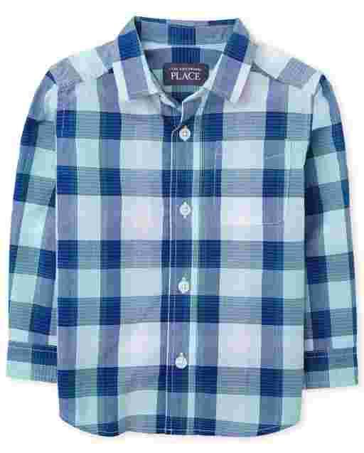Camisa con botones de popelina a cuadros de manga larga para niños pequeños