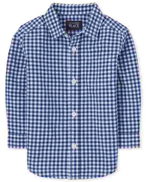 Toddler Boys Long Sleeve Gingham Poplin Button Down Shirt