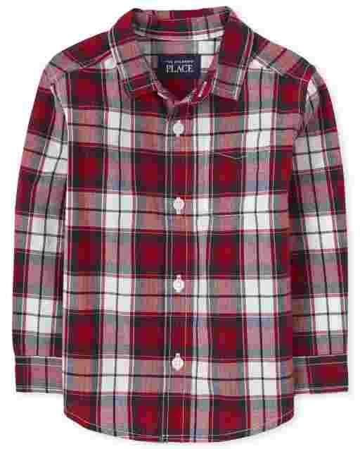 Toddler Boys Long Sleeve Plaid Poplin Button Down Shirt