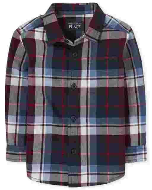 Toddler Boys Long Sleeve Plaid Poplin Button Down Shirt