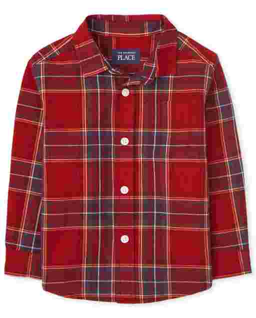 Toddler Boys Matching Family Long Sleeve Plaid Poplin Button Down Shirt