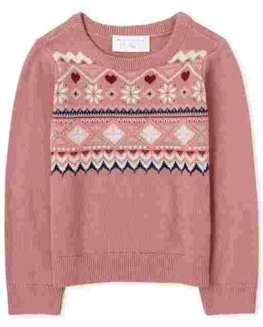 Toddler Girls Long Sleeve Fairisle Sweater