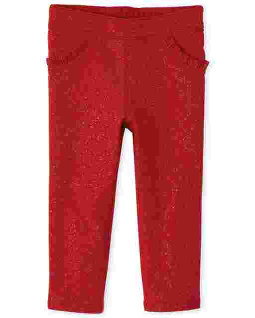 Baby And Toddler Girls Glitter Ruffle French Terry Jeggings