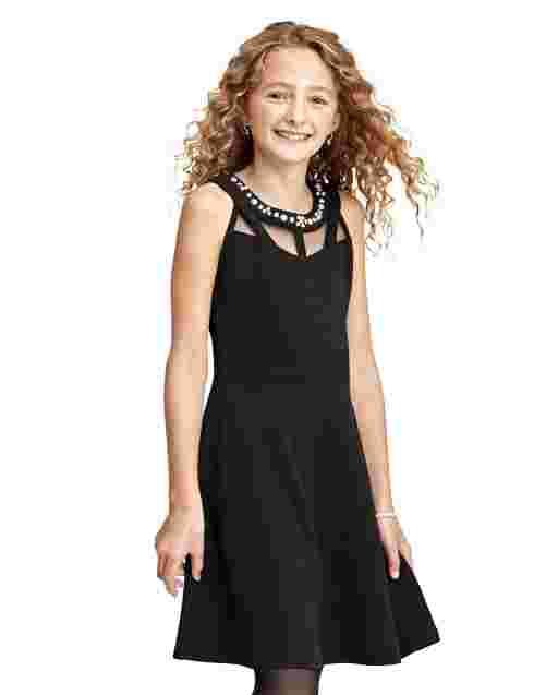 Girls Sleeveless Jeweled Neck Knit Stretch Jacquard Dress
