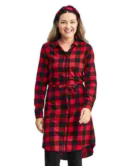 Womens Matching Family Long Sleeve Buffalo Plaid Twill Shirt Dress