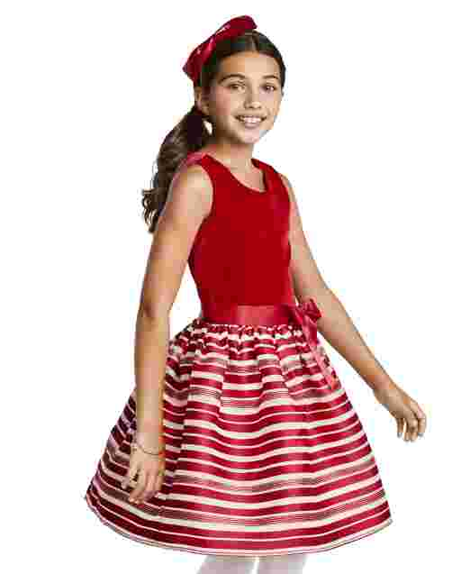 Girls Sleeveless Velour Candy Cane Striped Knit To Woven Dress