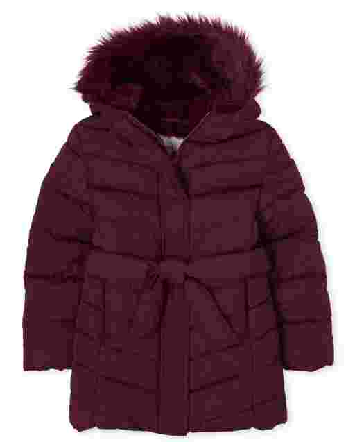 Girls Long Sleeve Faux Fur Hooded Long Puffer Jacket
