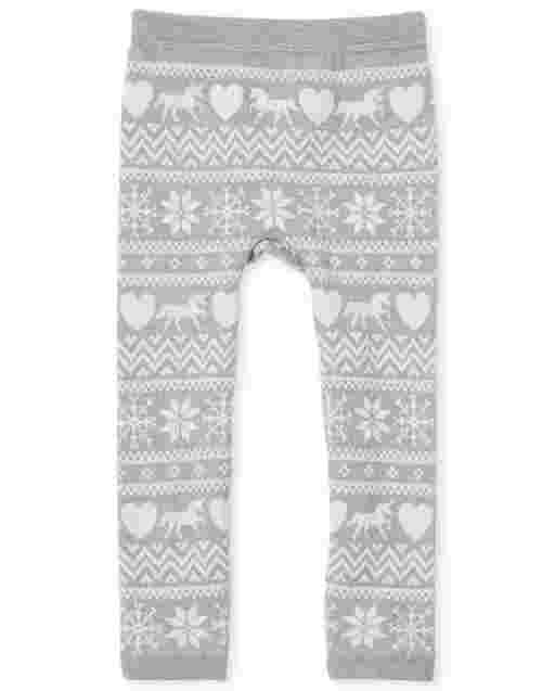 Toddler Girls Fairisle Knit Fleece Lined Leggings