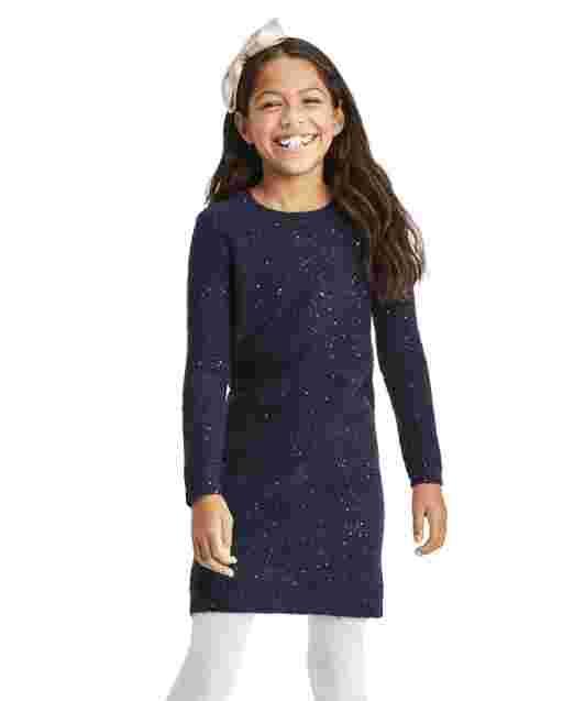 Girls Long Sleeve Sequin Sweater Dress