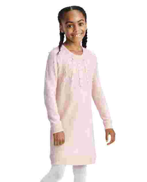 Girls Long Sleeve Faux Pearl Cable Knit Sweater Dress
