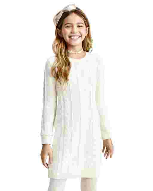 Girls Long Sleeve Cable Knit Sweater Dress