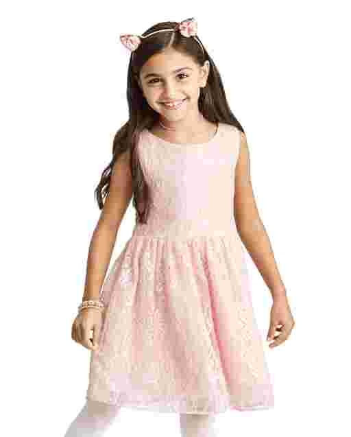 Girls Sleeveless Woven Shimmer Lace Dress