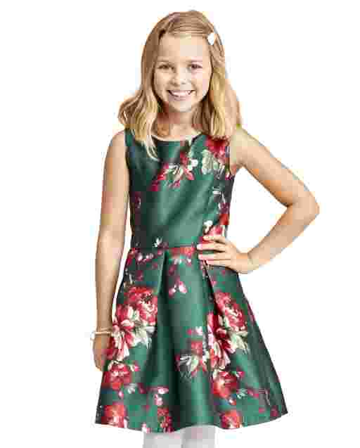 Girls Sleeveless Floral Print Twill Cut Out Dress