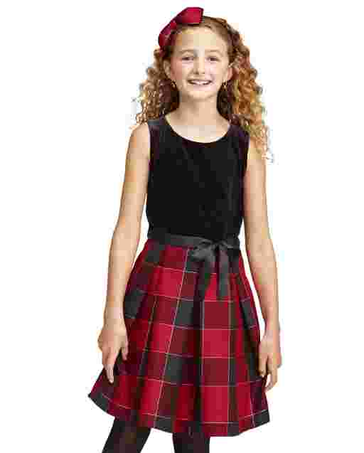 Girls Mommy And Me Sleeveless Velour And Buffalo Plaid Matching Knit To Woven Dress