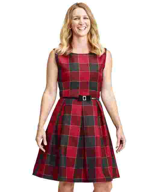 Womens Mommy And Me Sleeveless Buffalo Plaid ow Belted Woven Matching Fit And Flare Dress