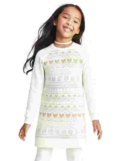 Girls Long Sleeve Heart Fairisle Sweater Dress