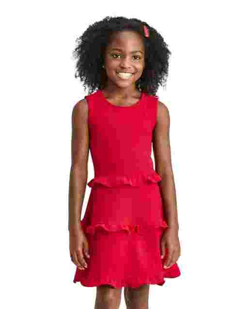 Girls Sleeveless Ruffle Tiered Dress