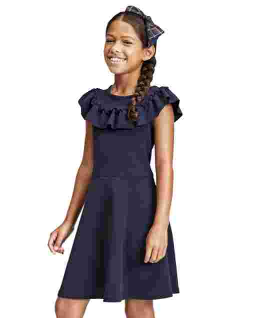 Girls Short Sleeve Ruffle Textured Knit Jacquard Dress