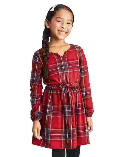 Girls Matching Family Long Sleeve Plaid Twill Peasant Dress