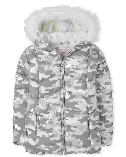 Girls Long Sleeve Foil Camo Faux Fur Hooded Jacket